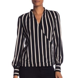 SALE Adrianna Papell Striped Faux Wrap Blouse